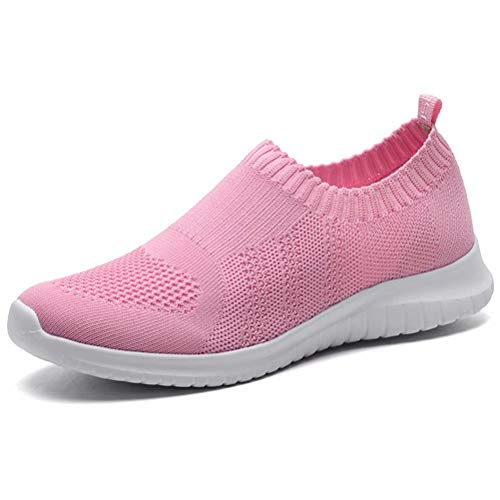 (LANCROP Women's Lightweight Walking Shoes - Casual Breathable Mesh Slip On Sneakers 6 M US Pink)