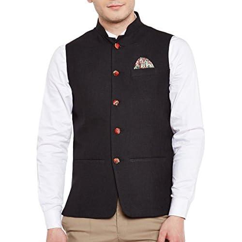 41yY4uxf3NL. SS500  - Wintage Men's Linen Blend Grandad Nehru Jacket Vest Waistcoat