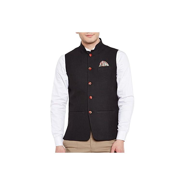 41yY4uxf3NL. SS768  - WINTAGE Men's Linen Blend Grandad Nehru Jacket Vest Waistcoat