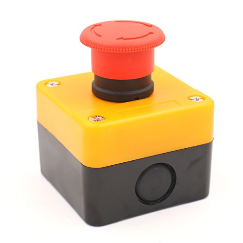 Baomain Red Sign Emergency Stop Push Button Weatherproof Pushbutton Switch 660V with Box (Button Push Stop Switch)