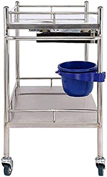 CART Household Medical Utility Carts Hand Trucks Stainless Steel Medical Cart Physiotherapy Mobile Care Car Dental Dental First Aid Three-Layer Dressing Trolley,S 50X40X86cm