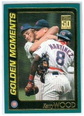 (Kerry Wood baseball card (Chicago Cubs Pitcher) 2001 Topps #786 20 Strikeout Golden Moment)