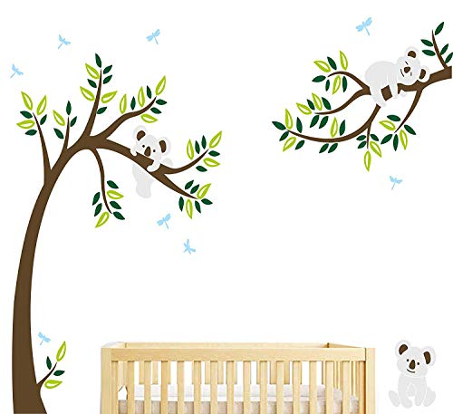 LUCKKYY Three Cute Koalas Tree Branches Wall Decal Wall Sticke Family Tree Wall Decal Vinyl Wall Sticker Baby Nursery Decor Kids Room Decoration (Brown) (Koala Tree)