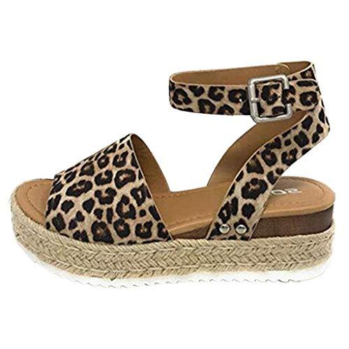 Sandals THENLIAN Women Thick Bottom Hemp Sandals Buckle Strap Wedges Leopard Retro Peep Toe Sandals(36, Brown)