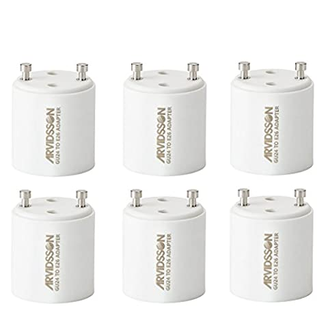 Arvidsson GU24 To E26 Adapter Base - Light Bulbs Convertor [Pack of 6]