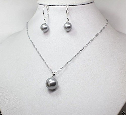 (10mm &14mm Gray South Sea Shell Pearl Earring Necklace Pendant Jewelry Set)