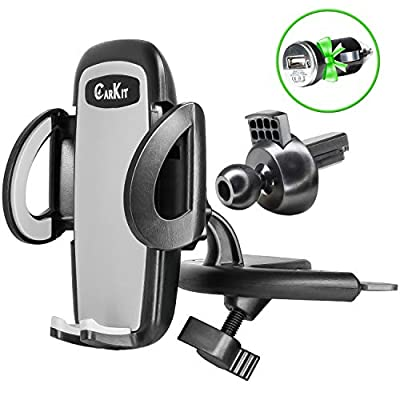 CarKit 2-in-1 CD Phone Holder for Car & Air Vent Phone Holder & Bonus USB Car Charger, Universal Car Phone Mount for iPhone 11 Pro Max Xs Xr 8+ 7 Samsung Galaxy S10+ S10 S9+ S8 S7 & other Cell Phones