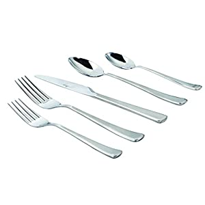 Oster 24 Piece Baldwyn Flatware With Bounty Steak Knives (Set of 4), Stainless Steel