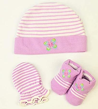 1dbc8272c21 Amazon.com   Saftybay Knit Baby Hat Cap+ Socks + Gloves Gift Set for 0-6  Months Old New Baby Newborn (Pink)   Baby