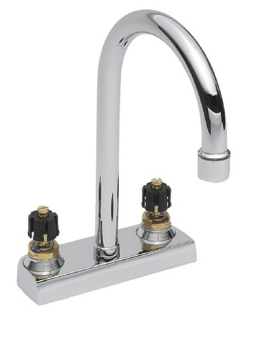 American Standard 7402.00.002 Heritage Centerset Lavatory Faucet with 5 Rigid Gooseneck Spout and Grid Drain, Polished Chrome (Handles Not Included) American Standard Heritage Centerset