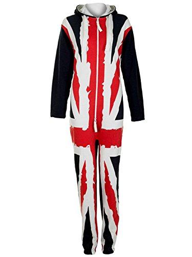 Love My Fashions Women's Uk Flag Onesie Fleece Hoodie All In One Jumpsuit