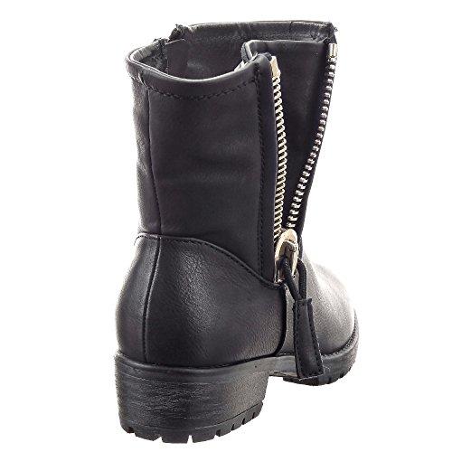Sopily - Scarpe da Moda Stivaletti - Scarponcini Biker donna borchiati Zip Tacco a blocco 4 cm - soletta sintetico - foderato di pelliccia - Nero