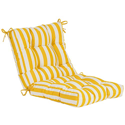 QILLOWAY Outdoor Seat/Back Chair Cushion Tufted Pillow, Spring/Summer Seasonal Replacement Cushions. (Yellow&White Stripe) (Cushions Yellow Black Patio And)