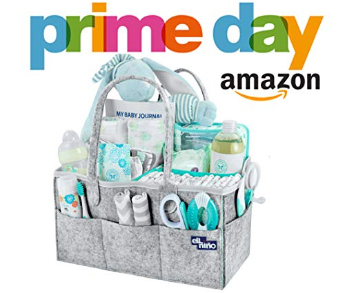 Baby Diaper Caddy Organizer - Portable Large diaper caddy tote - Car Travel Bag - Nursery diaper caddy Storage Bin - Gray Felt Basket Infant Girl Boy - Cute Gift for Kids - Newborn Registry Must Have from Ell Nino