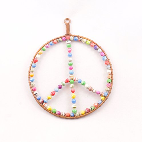 Handcrafted Peace Sign Fair Trade Ornament in Copper and Colorful Paper Beads -