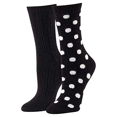 Isaac Mizrahi Cashmere Blend Crew Socks Black with Stripes & Dots – 2 Pack