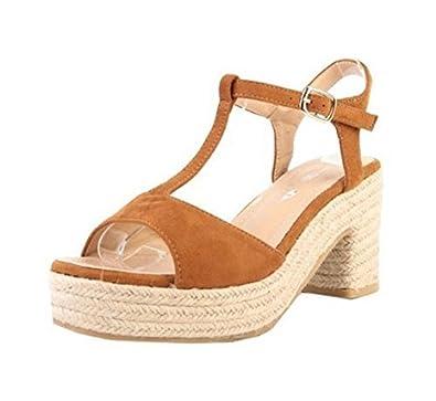 Womens Ladies Faux Suede T-Bar Ankle Strap Espadrille Low Block Heel Open  Toe Slingback Sandals Shoes - O88  Amazon.co.uk  Shoes   Bags