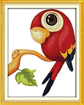 """Good Value Cross Stitch Kits Beginners Kids Advanced - The Parrot 11 CT 15""""X 18"""", DIY Handmade Needlework Set Cross-Stitching Accurate Stamped Patterns Embroidery Frameless"""