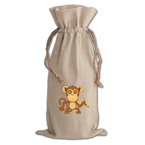 - Monkey Big Eyes Animals Cotton Canvas Wine Bag, Cotton Drawstring Wine Pouch
