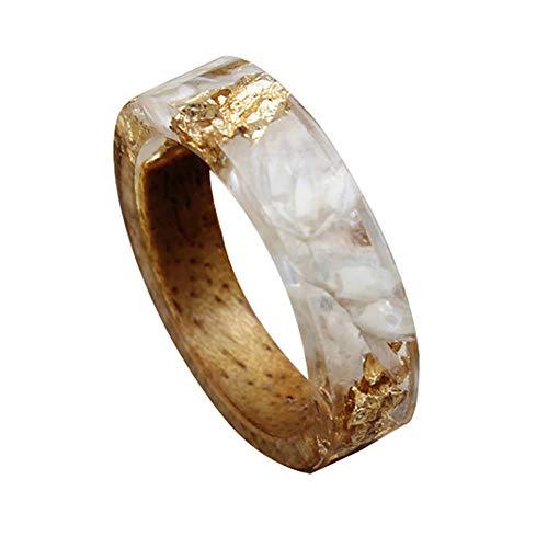 ink2055 Fashion Women Ladies Rings Handmade Wood Resin Foil Flower Plants Finger Ring Jewelry Decor - 12# US -