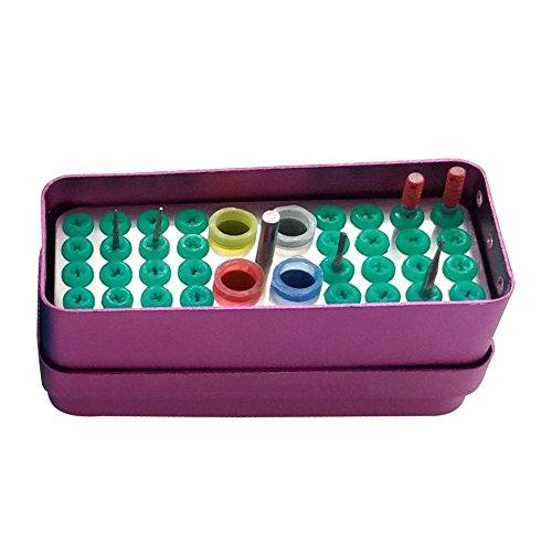 - 32 Holes Autoclavable Box Dental Case High Low Speed Bur Expand Needle Gutta Percha File (Purple)