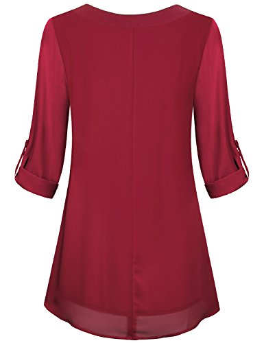 Miusey Red Blouse, Girls Soft Chiffon Material Casual V Neck Maternity Looser Fitting Business Front Pleated Breathable Layered Lovely Tunic Shirts Red L by Miusey (Image #2)