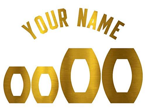 Jersey Lettering Kit - Custom Glitter, Glow in Dark, Metallic, Reflective, Hologram Vinyl Iron-on Transfer Shirt Name and Number Kits for Custom Soccer, Basketball and Baseball Jerseys,Shirts,Clothing (Gold Metallic)