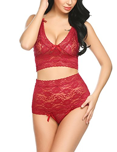 Intimates Bras Thong Panties (Avidlove Women's 2 Pieces Lingerie Set Babydoll High Waisted Panty Thong For Honeymoon)