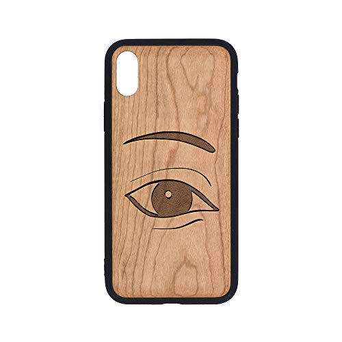 (Vision - iPhone Xs Case - Cherry Premium Slim & Lightweight Traveler Wooden Protective Phone Case - Unique, Stylish & Eco-Friendly - Designed for iPhone Xs)