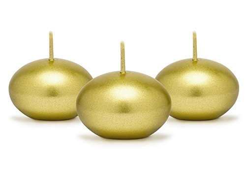 EmozionarSi - 50 Candele Galleggianti Oro Gold Diametro 4 cm Matrimonio Centrotavola Wedding Vasi Acqua