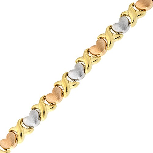 14k Yellow, White and Rose Gold Tri-Color Matte Heart X and O Link Bracelet, 7.25