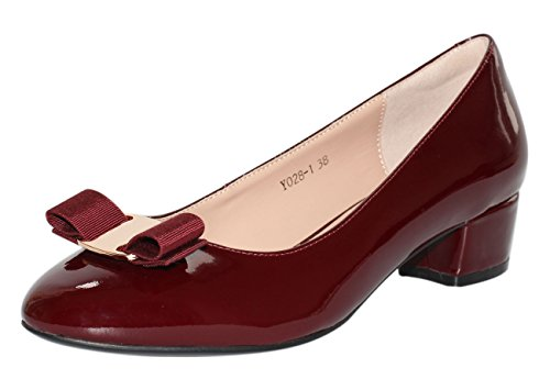 Bow Detail Leather - JARO VEGA Women's Low Cut Round Toe Bow Tie Pumps, Patent Leather Low Block Heel Dress Pump Shoes Burgundy Size 8.5