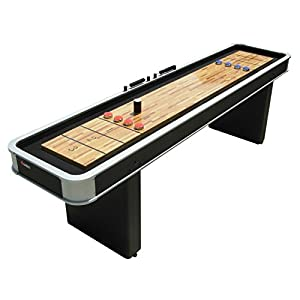 Atomic 9' Platinum Shuffleboard Table with Poly-coated Playing Surface for Smooth, Fast Puck Action and Pedestal Legs with Levelers for Optimum Stability and Level Play