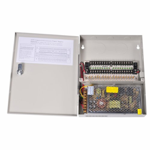 VideoSecu 18 Channel Port Output 12V DC CCTV PTC Fuse Distributed Power Supply Box for Security Cameras WK3 by VideoSecu