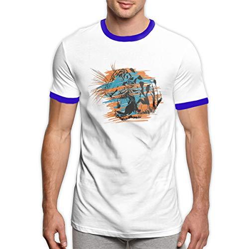 AaAarr Tiger Head Men's O Neck Short Sleeve Ringer T Shirt