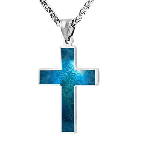 Simple Small Zinc Alloy Religious Cross Necklace For Men Women,Print Sardines
