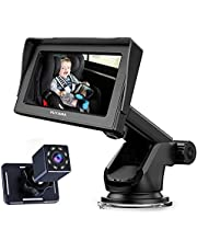 """Baby Car Mirror, 5"""" Baby Camera Monitor with HD Night Vision Function Car Mirror Display, View Infant in Rear Facing Seat with Wide Crystal Clear View, 12V Cigarette Lighter, Easily Observe the Baby's Move"""