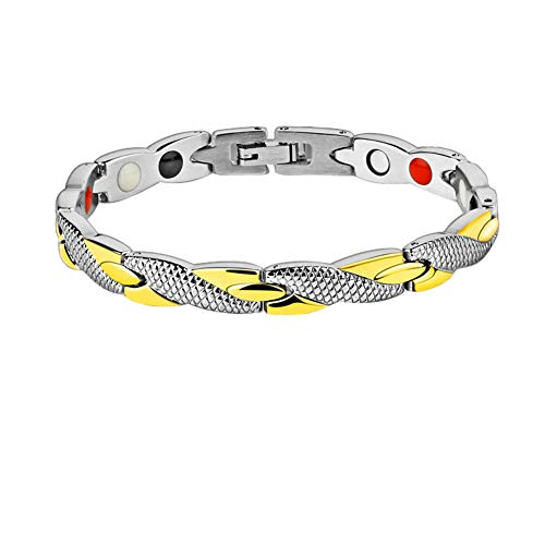 (Titanium Stainless Steel Magnetic Therapy Bracelet Health Care Gift for Womens Golden-Silver)