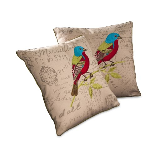 best selling 18 inch embroidered bird pillow set of 2