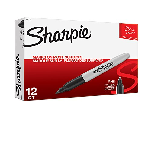 Sharpie Super Permanent Markers, Fine Point, Black, 12 Count