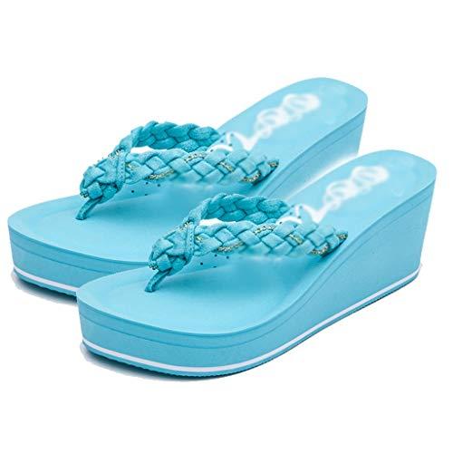 Nero E Feet Blu With Tacco Fashion Da Alto Scarpe Cake Tide 38eu Slippers Donna Sandali Wedges Dimensioni Aminshap Pantofole Spiaggia colore Antiscivolo Con qaBwcvSgHx