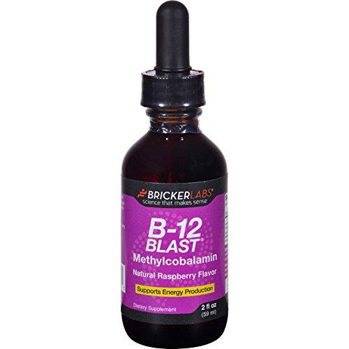 Bricker Labs B-12 Blast - Methylcobalamin - Natural Raspberry - 2 oz - Gluten Free - Yeast Free-Wheat Free-