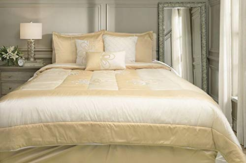 WPM Designer Collection Bedding Set 7 Piece Beige Cream/Gold Luxurious Bed in a Bag King Size Comforter Flower Embroidered Includes 1 Comforter, 2 Shams, 1 Bedskirt, 3 Décorative Pillows by WPM (Image #2)