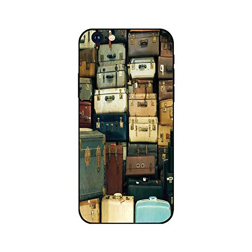 Case Bros Antique - Phone Case Compatible with iphone6 iphone6s mobile phone covers phone shell Brandnew Tempered Glass Backplane,Vintage,Colorful Vintage Suitcase Antique Leather Decorative Travel Gift Map Nostalgia,Bro