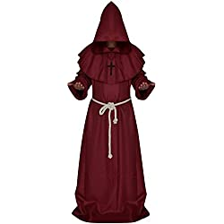 LETSQK Men's Friar Medieval Hooded Monk Priest Robe Tunic Halloween Costume Red L