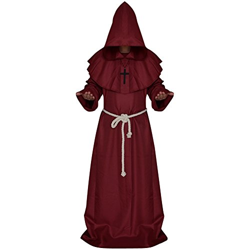 [LETSQK Men's Friar Medieval Hooded Monk Priest Robe Tunic Halloween Costume Red M] (Priest Halloween Costume Deluxe)