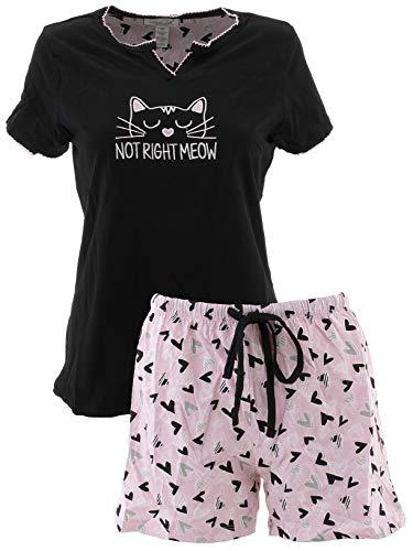 - Rene Rofe Women's Not Right Meow Cotton Short Pajamas XL Black