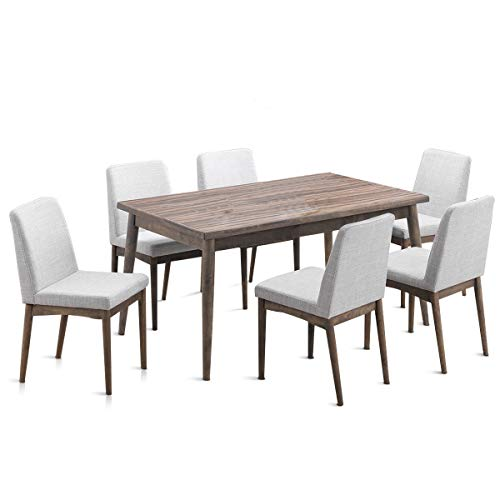 Set of 7Pcs Wooden Dining Table Set w/ 6 Armless Chair, used for sale  Delivered anywhere in USA