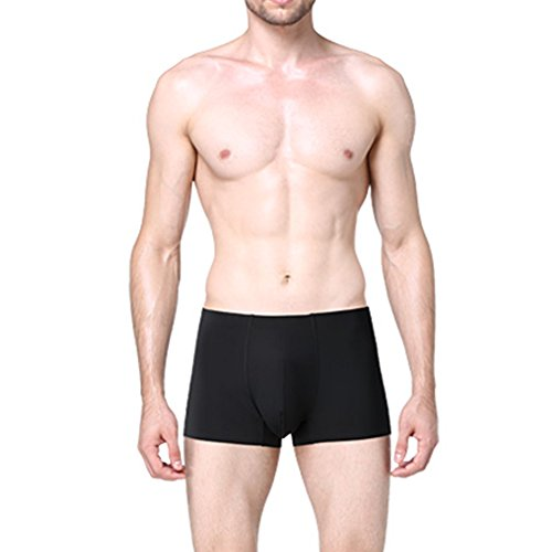 MASS21 Men's Smooth Ice Silk Breathable Boxer Low Rise Seamless Trunks Size M,Black