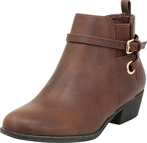 Misty Cosplay Shoes (Cambridge Select Women's Chelsea Stretch Wraparound Strappy Chunky Block Heel Ankle Bootie,6.5 B(M) US,Brown)